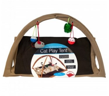 Fleece Cat Play Tent with Dangle Toys