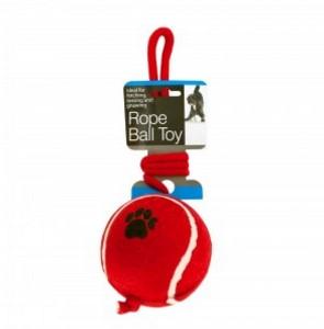 Jumbo Tennis Ball with Rope Dog Toy