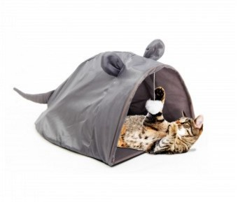 Mouse Shape Cat House with Hanging Toy