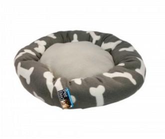 Round Grey Bone Print Pet Bed