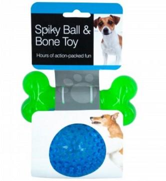 Spiky Ball & Bone Dog Toy Set