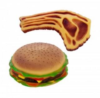 Squeaky Hamburger and Steak Dog Toy