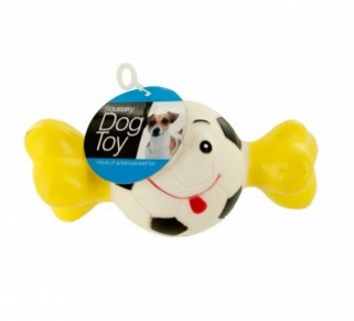 Squeaky Sports Ball with Bone Dog Toy